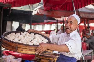 The colors of Kashgar bazaar, Xinjiang, China